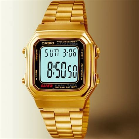 casio wr digital wr time stop gold steel band by casio
