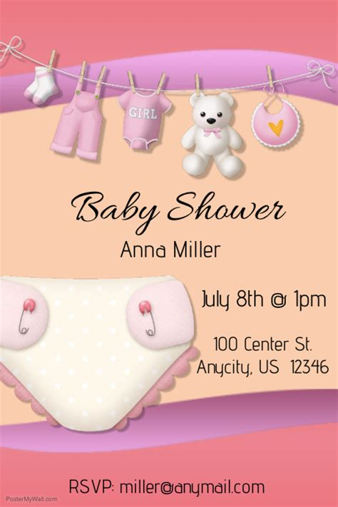 baby shower poster template baby shower template postermywall