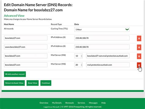 Office 365 Portal Nz Create Dns Records At Freeparking Co Nz For Office 365