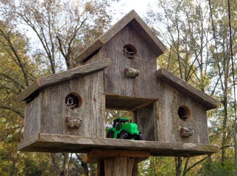 rustic reclaimed cedar birdhouse barn old fences