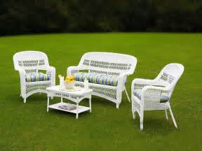 White Patio Furniture Sets by Tortuga Portside Coastal White Wicker Conversation Set