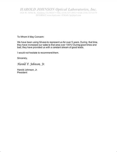 personal recommendation letter template silvaco optics our references