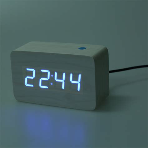 modern wooden wood usb digital blue led alarm clock calendar thermometer ne v7g3 ebay