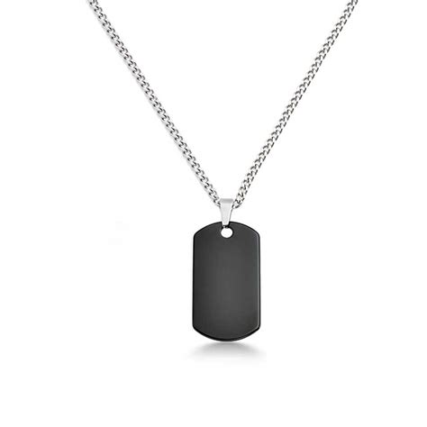 puppy tags black tungsten tag link chain 24in