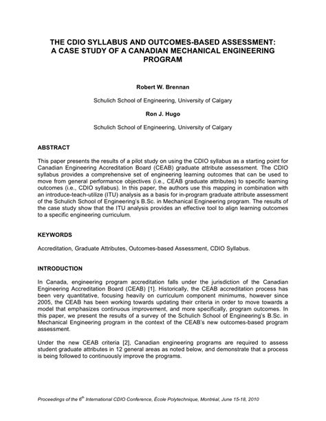 cdio syllabus  outcomes based assessment  case study   canadian mechanical