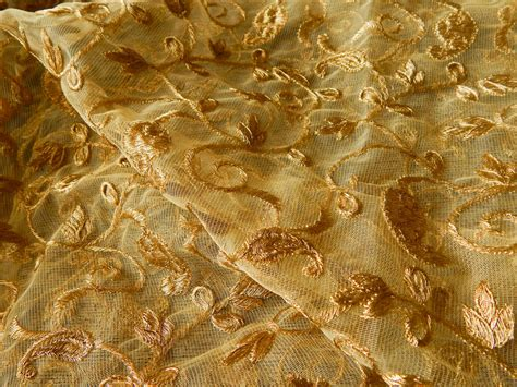 embroidered fabrics half yard gold embroidered fabric net fabric indian
