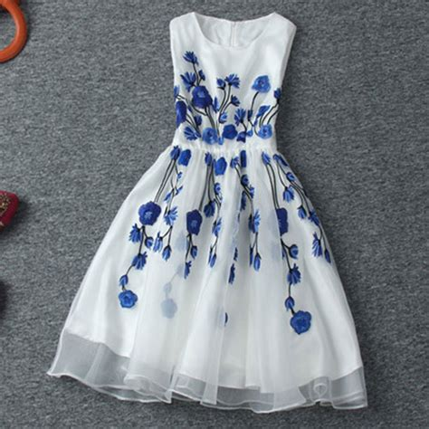 Blue And Flower Flowers S M L Dress 43431 vintage contrast color blue floral embroidered sleeveless