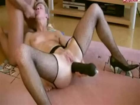 German Wife Gets Huge Black Dildo In Her Ass At