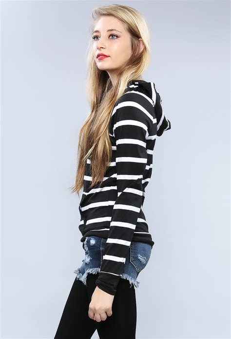 Striped Hooded Top striped hooded top shop sweaters cardigans at