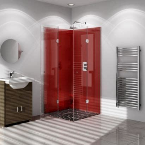 b q bathroom wall cladding panels vistelle red single shower panel l 2 07m w 1m t 4mm