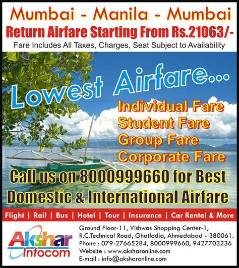 aksharonline mumbai manila mumbai lowest airfare starting from 21063