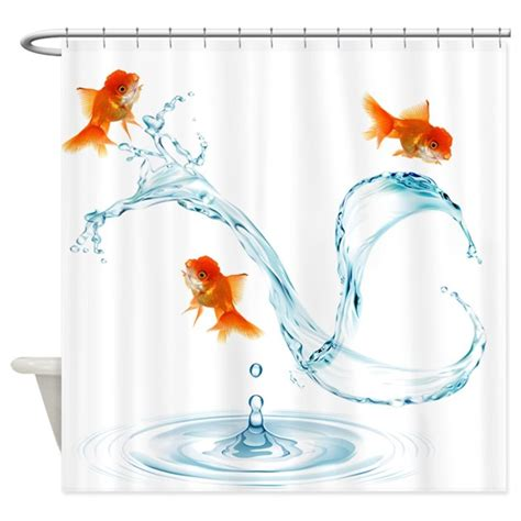 splashing shower curtain nigel splashing goldfish shower curtain by getyergoat
