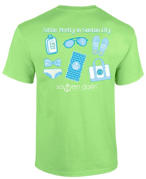City Bch V Neck Tshirt Putih Size L southern darlin sittin pretty in suntan city flip flops summer b simplycutetees