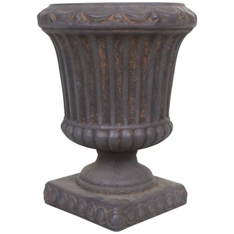 1950 S Large Fluted Urn Cachepot Planter Classical Style Black Urn Planter