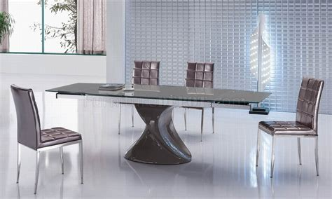 brown glass top modern dining table w optional side chairs