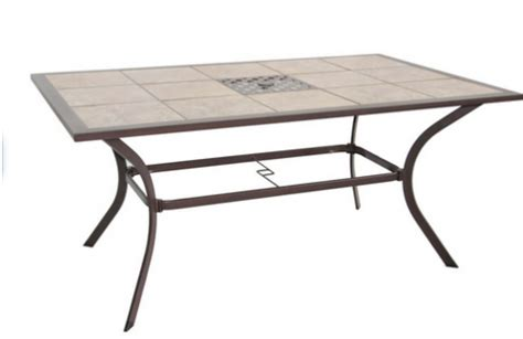 Patio Tables Only Garden Treasures Eastmoreland Tile Top Textured Brown Rectangle Patio Dining Table Only 35 Reg