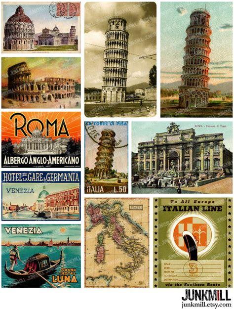 printable travel postcards travel italy digital printable collage sheet vintage by