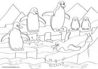 penguin coloring pages activity village penguins scene colouring card