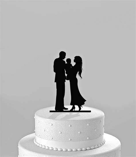 Topper Siluet Wedding Acrilik wedding cake topper silhouette groom holding baby family acrylic cake topper ct64c