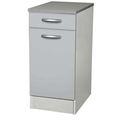 meuble de cuisine bas 1 porte 1 tiroir gris aluminium