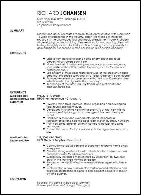 free professional medical sales representative resume