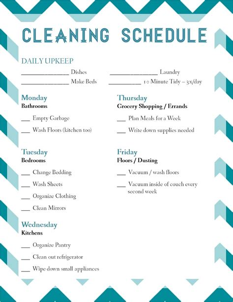 cleaning schedule template for office free manager on