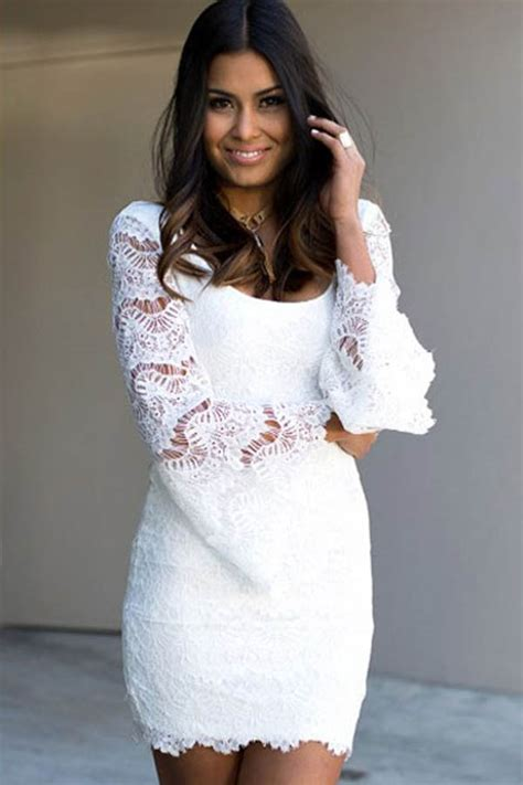 estera gallo white flare sleeves lace mini party dress 021032 long