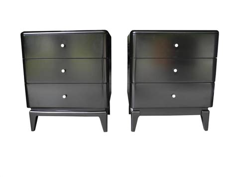 Nightstand Knobs Mid Century Modern Black Nightstands With Porcelain Knobs
