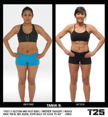 how long after c section can you work out focus t25 results before after tania fight not