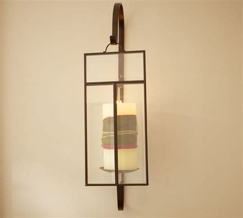 Glass Wall Sconce Candle Holder Paned Glass Wall Candle Sconce Pottery Barn