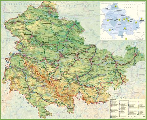germany map detailed large detailed map of thuringia