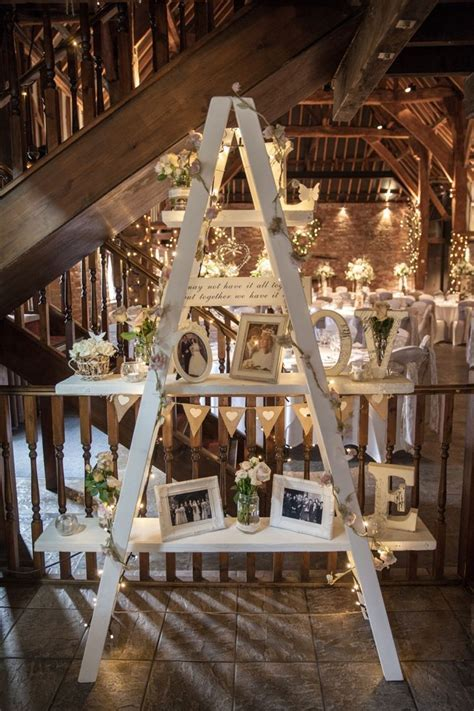 Ladder Decor Photos Fairy Lights Cosy Winter Barn Wedding