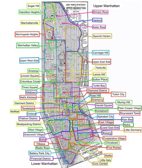 map of manhattan ny list of manhattan neighborhoods