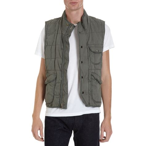 save khaki quilted vest in green for olive lyst