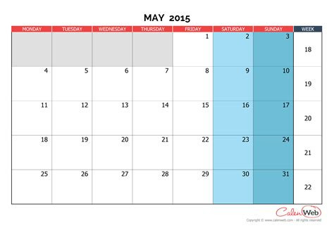 monthly planner may 2015 printable monthly calendar month of may 2015 the week starts on