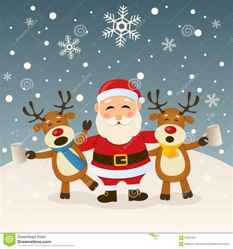 animated photos of christmas santa claus with reindeer santa claus and reindeer stock vector image 61821831