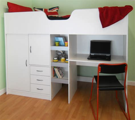 High Bed With Wardrobe And Desk by Cambridge High Sleeper Cabin Childrens Wardrobe Storage