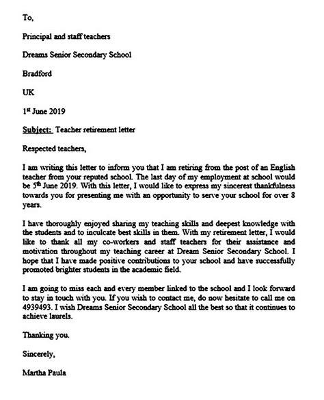 retirement letter unique
