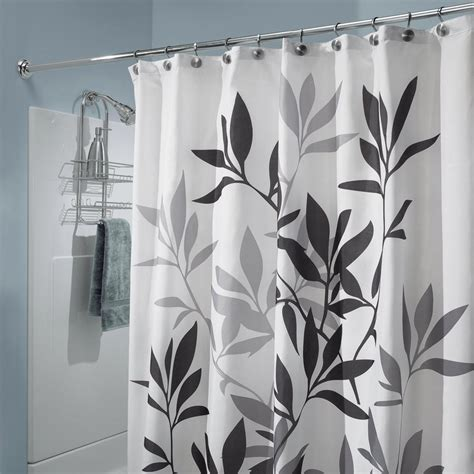 interdesign black  gray leaves fabric shower curtain