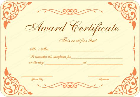 templates for certificate new pdf award certificate template