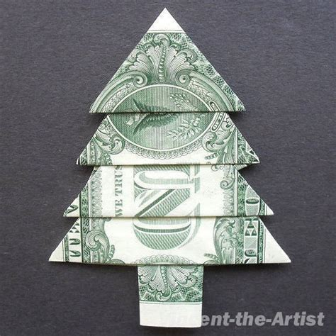 fold dollar into christmas tree money origami tree dollar bill made with real 1 00 origami