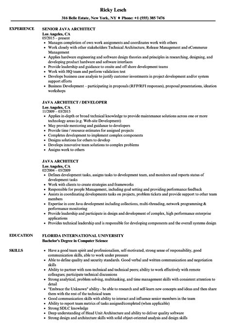 java architect resume format java architect resume sles velvet