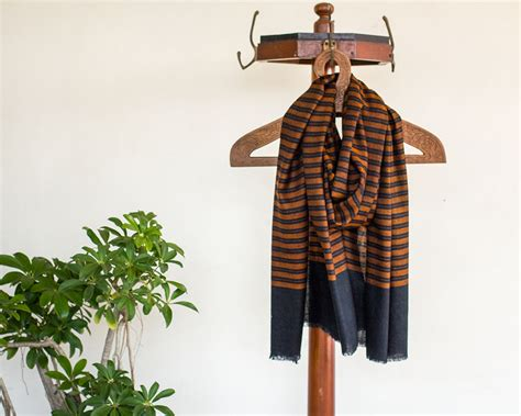 Pashmina Arabia Limited pashmina wool scarf brown black stripes kop 225 i paar indian craft store