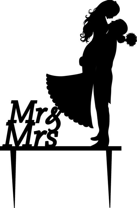 Wedding Siluet by Wedding Cake Topper Silhouette Groom And Acrylic