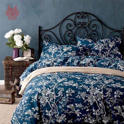 blue patterned bedspread 100 cotton bedding sets drap de lit type blue white floral