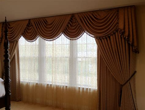 drapes and window treatments traditional swags and cascades with drapes window works