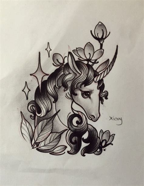 new school unicorn tattoo upset black and white new school style unicorn portrait