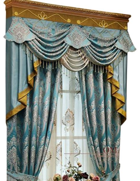 King Drapery luxury window curtain blue king traditional curtains