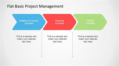 flat basic project management powerpoint diagram