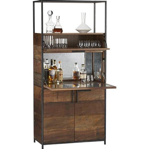 Wood Bar Cabinet Clive Antique Mirror Detailed Wood Bar Cabinet